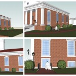 Four external renderings of the elevator entrance